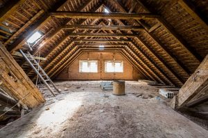 A loft space cleared for a conversion
